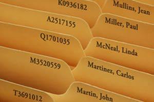 Manila folders as personnel files