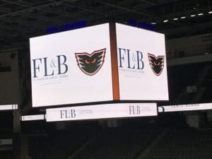 Image of FLB Logo and Phantoms Logos on a screen at the PPL Center