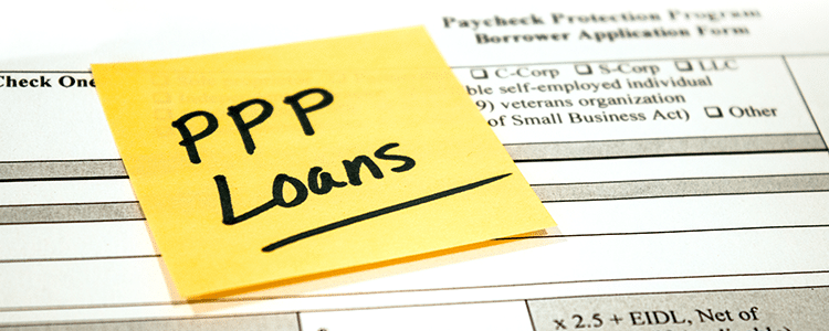 Photo of an application for a PPP Loan