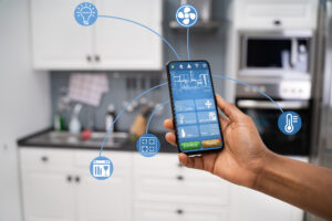 Photo showing phone and smart home tech