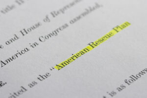 Closeup of the documents of the American Rescue Plan Act of 2021